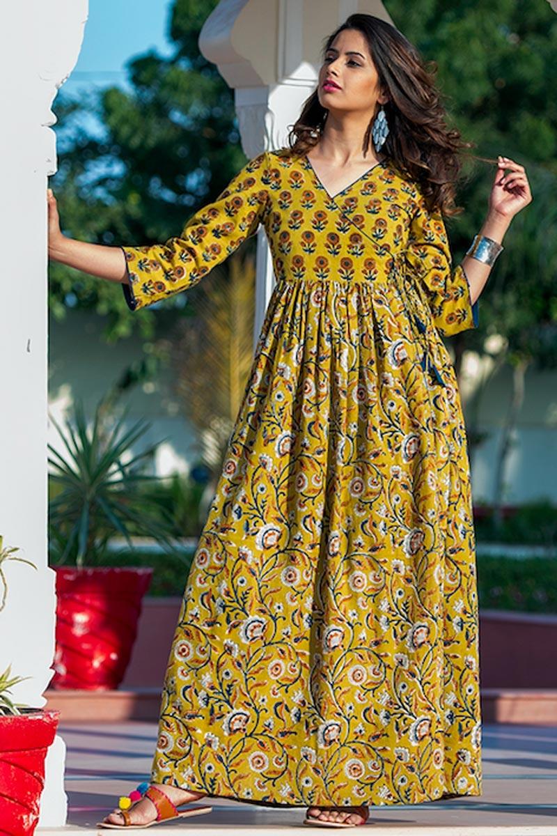 Festive Wear Yellow Digital Print Gown In Fancy Fabric