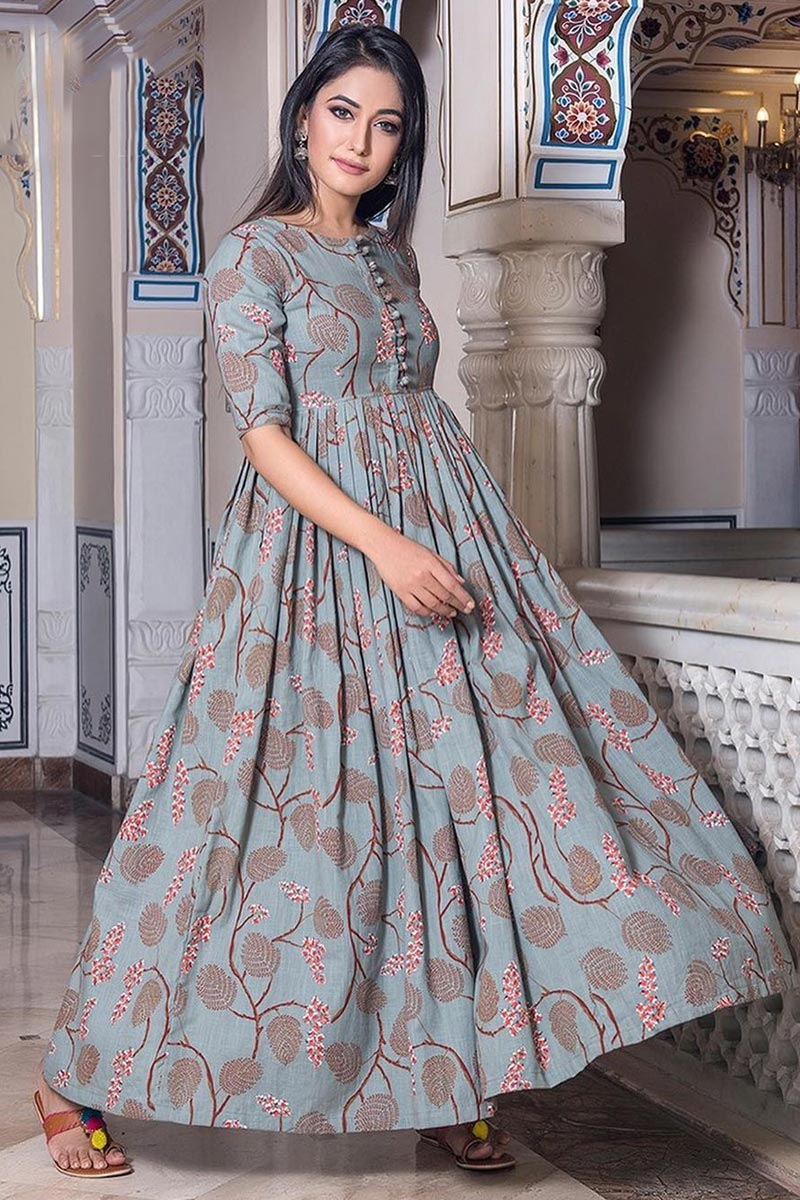 Grey Color Festive Wear Fancy Fabric Digital Print Gown