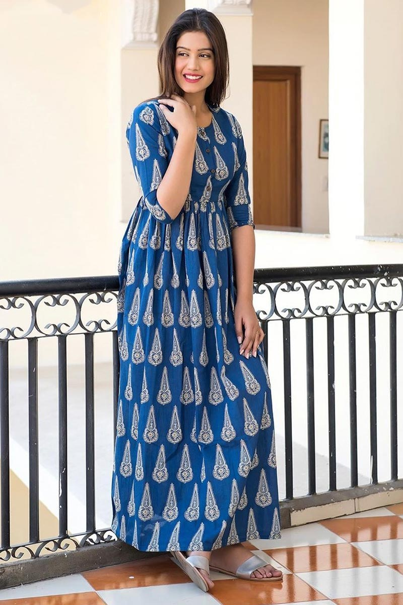 Function Wear Digital Print Gown In Blue Color Fancy Fabric