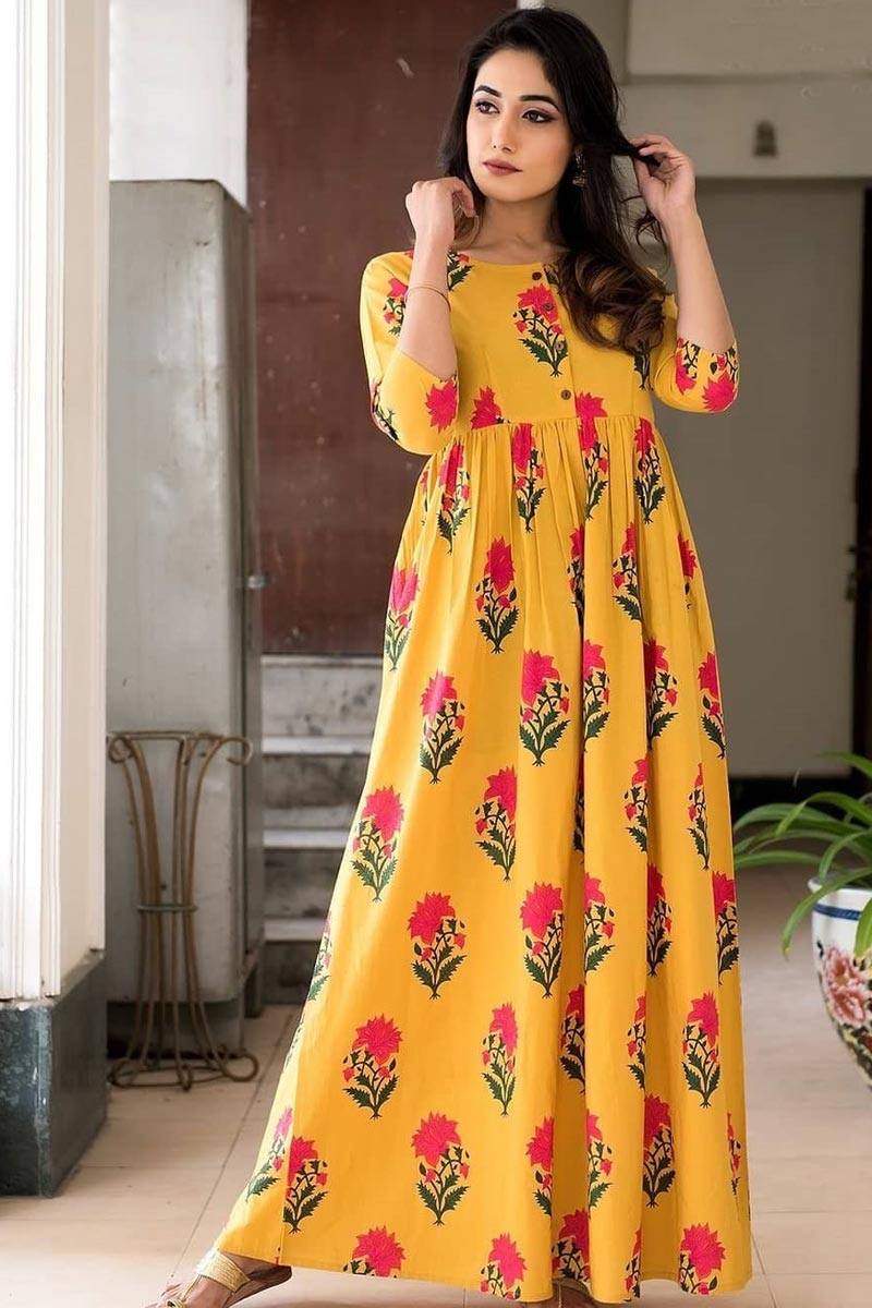 Party Wear Mustard Color Digital Print Gown In Fancy Fabric