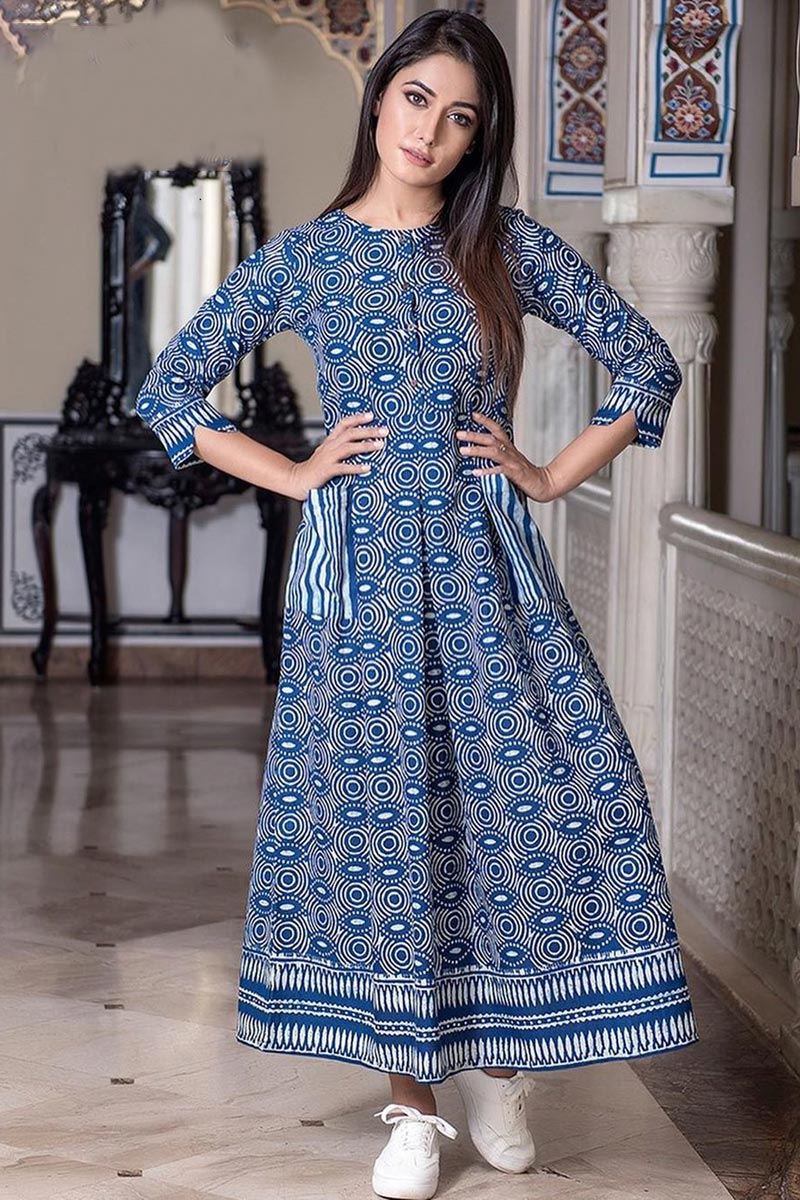 Navy Blue Color Party Wear Fancy Fabric Digital Print Gown