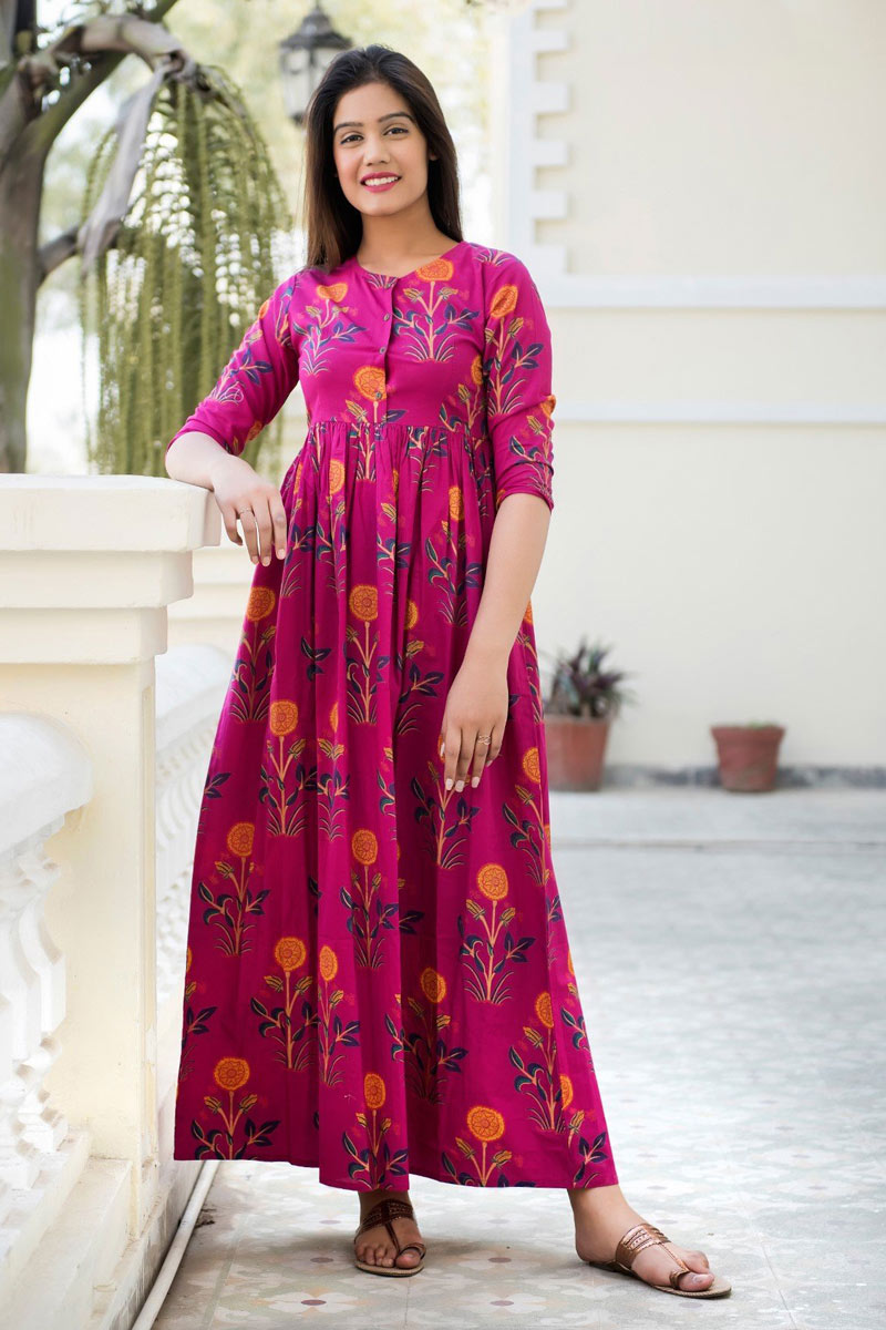 Dark Pink Color Designer Fancy Fabric Readymade Party Wear Floor Length Gown