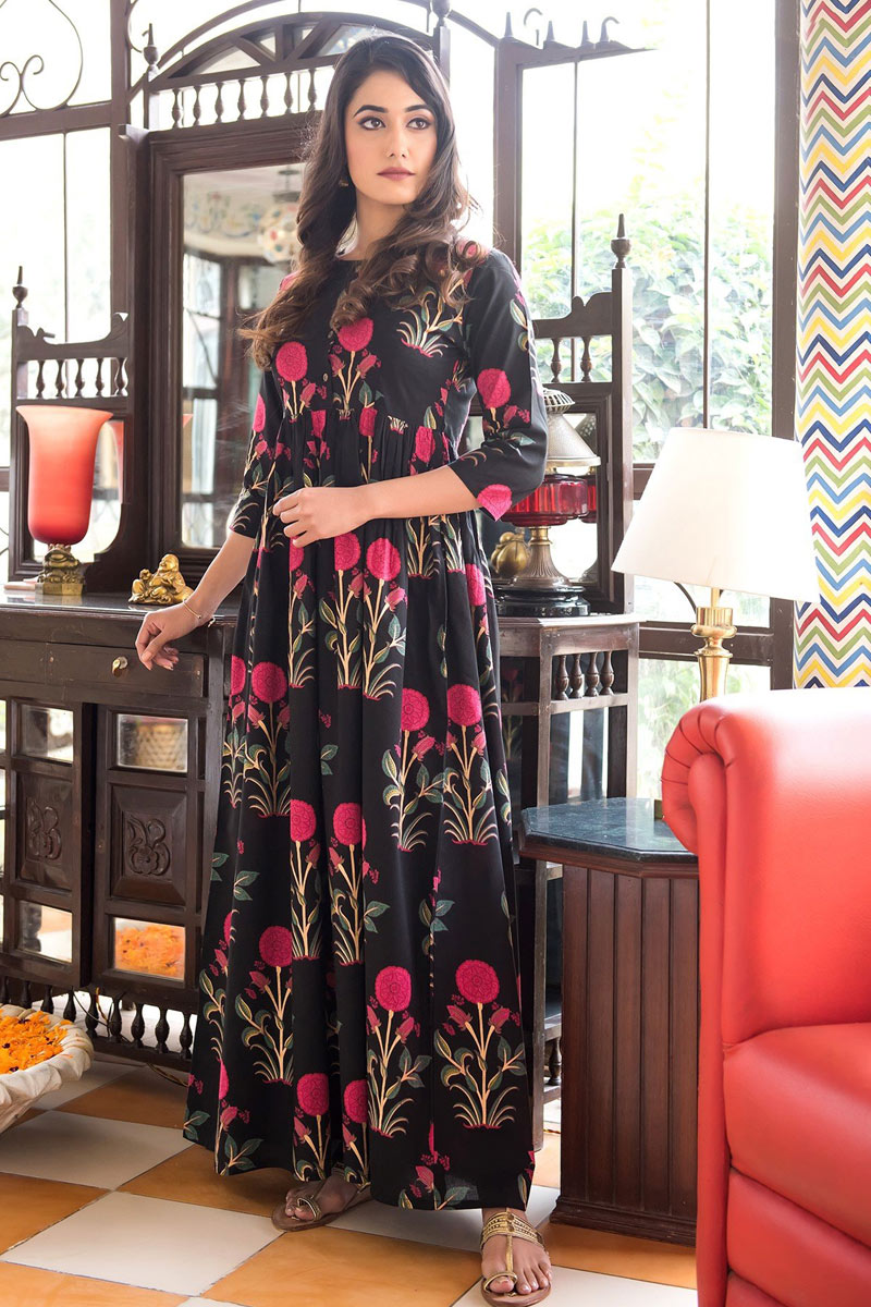 Function Wear Printed Readymade Designer Gown In Fancy Fabric Black Color