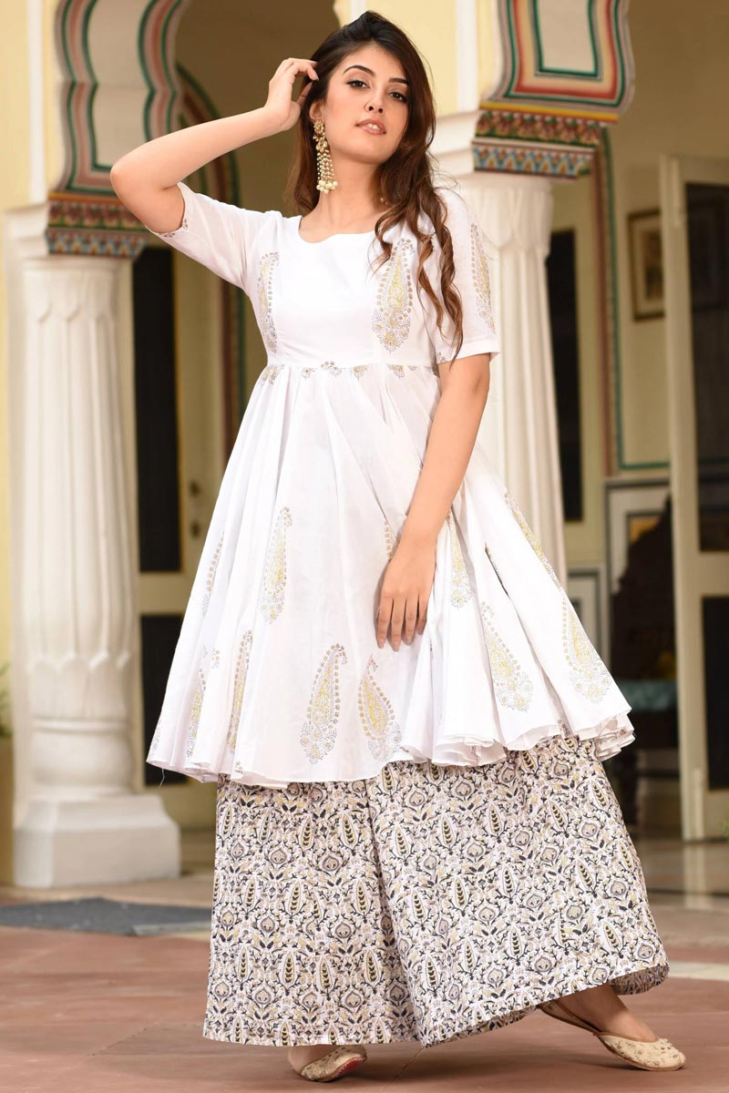 White Color Festive Wear Digital Printed Kurti With Palazzo In Fancy Fabric