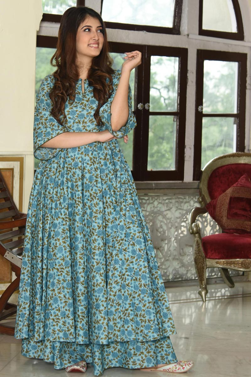 Festive Wear Sky Blue Digital Printed Fancy Fabric Kurti With Palazzo