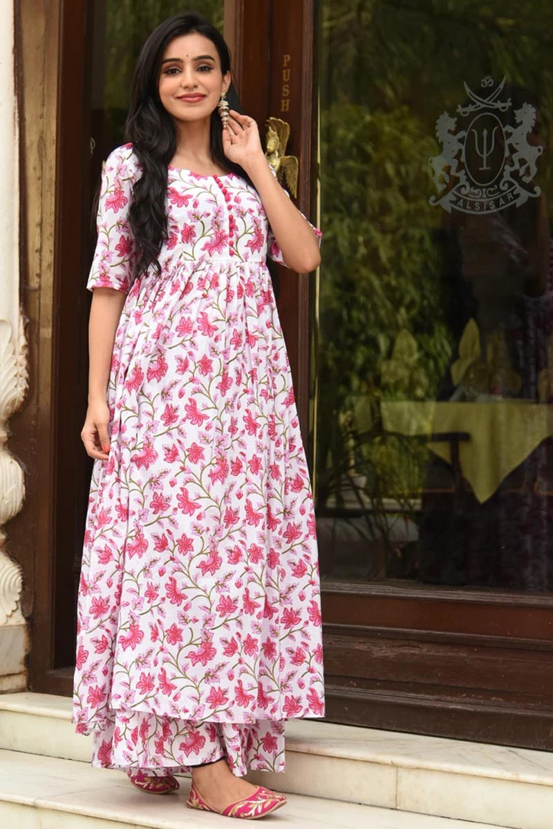 Fancy Fabric Digital Printed White Color Festive Wear Kurti With Palazzo