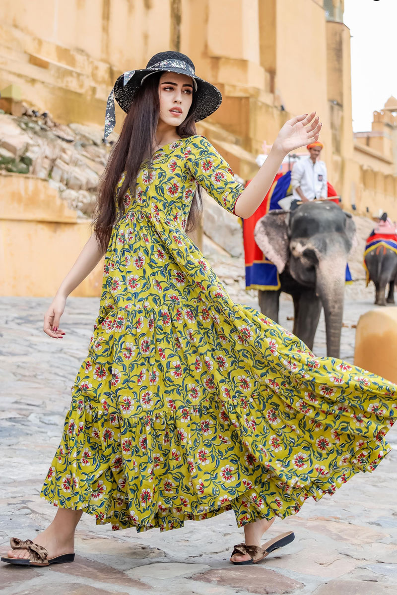 Fancy Fabric Designer Readymade Gown In Yellow Color