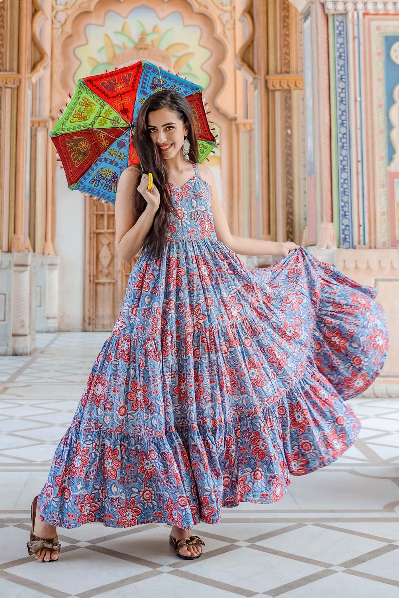 Designer Fancy Fabric Party Wear Readymade Gown In Blue Color