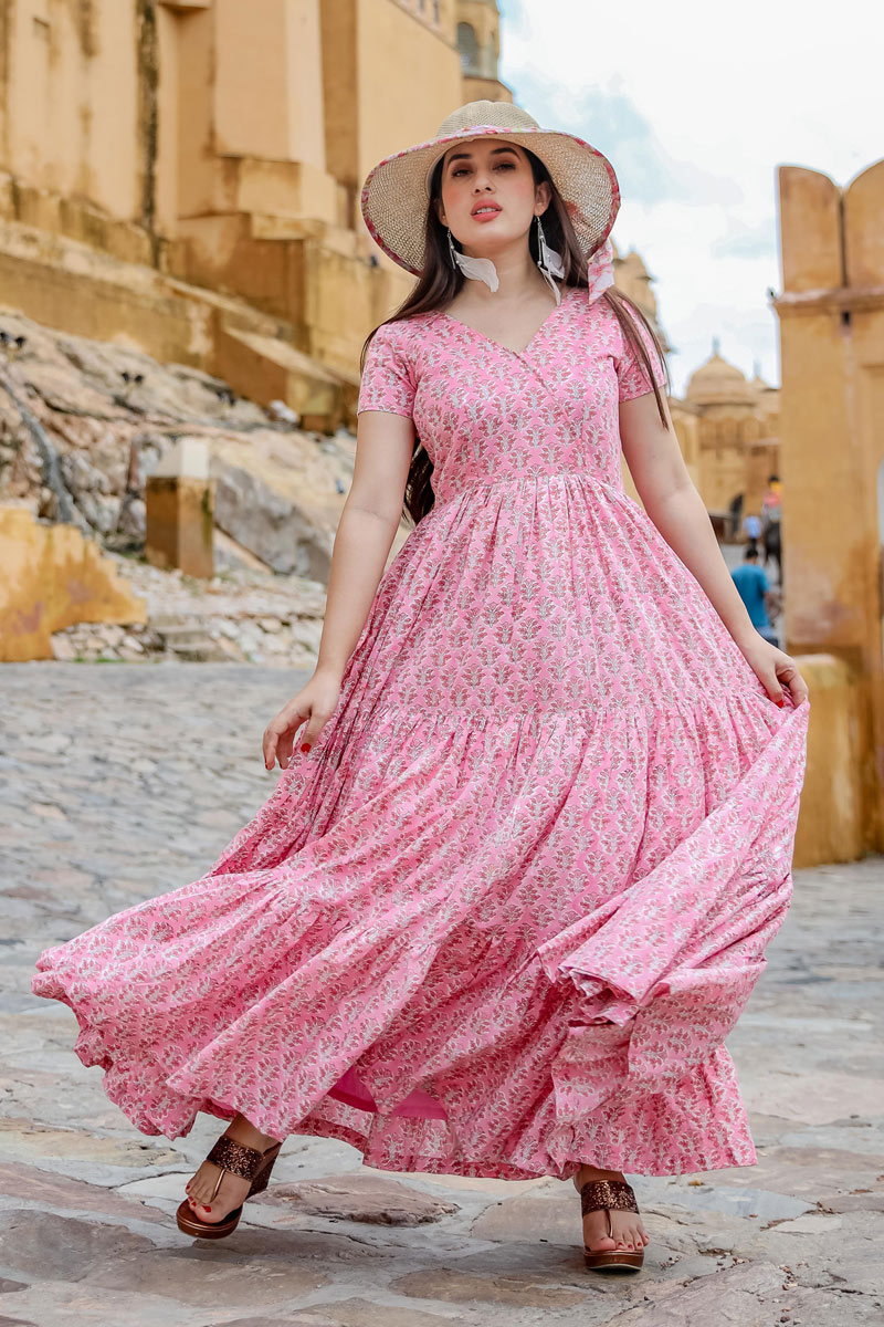 Fancy Fabric Pink Color Function Wear Readymade Western Gown