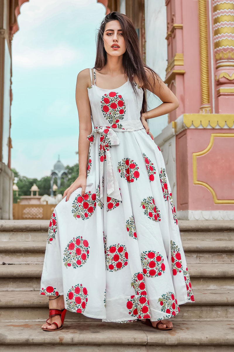 Occasion Wear Fancy Fabric Readymade Western Gown In White Color