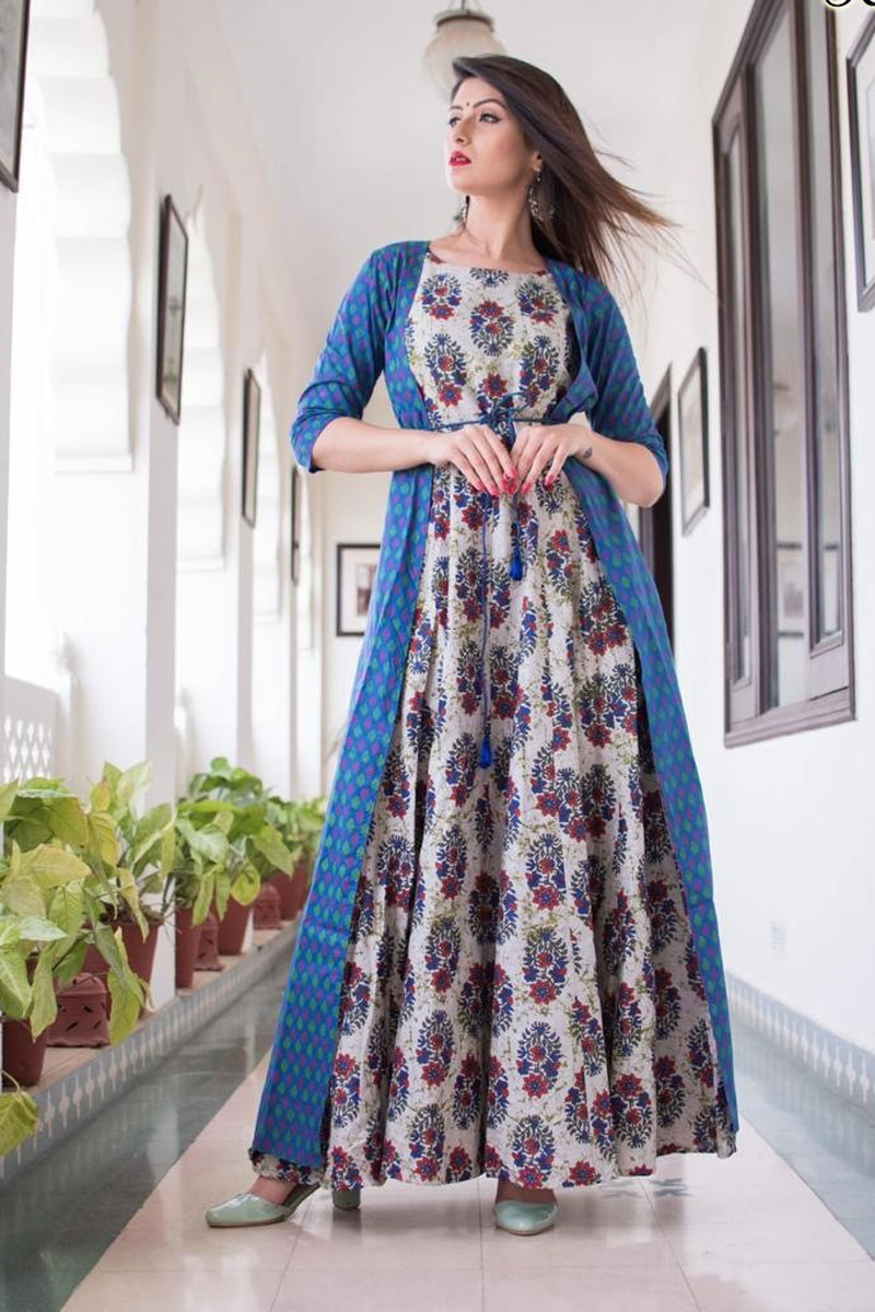 Fancy Fabric Printed Blue Color Wedding Wear Long Gown