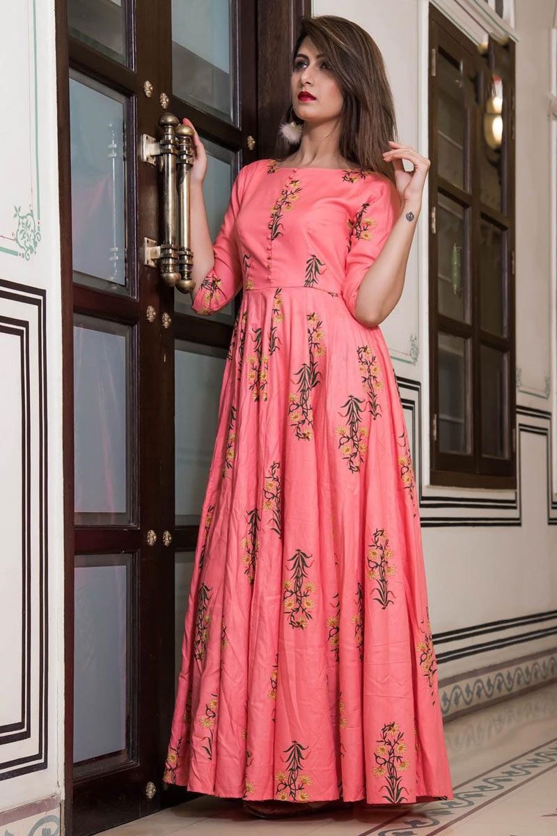 Fancy Fabric Pink Color Party Wear Printed Long Gown