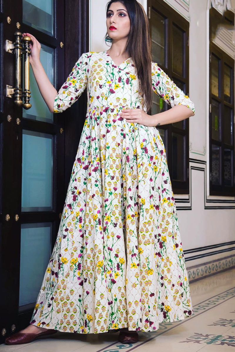 Printed Designs On Fancy Fabric Beige Color Function Wear Long Gown
