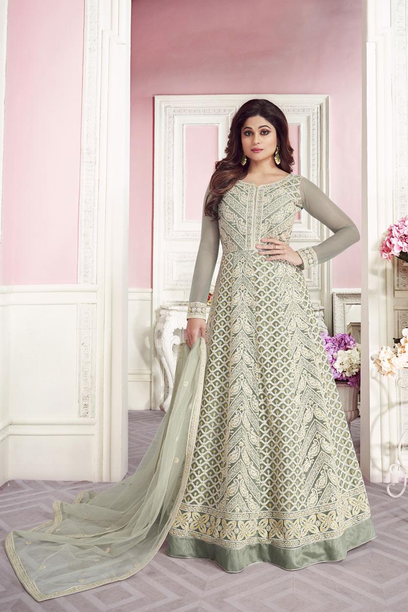 Shamita Shetty Designer Embroidered Function Wear Floor Length Anarkali Suit