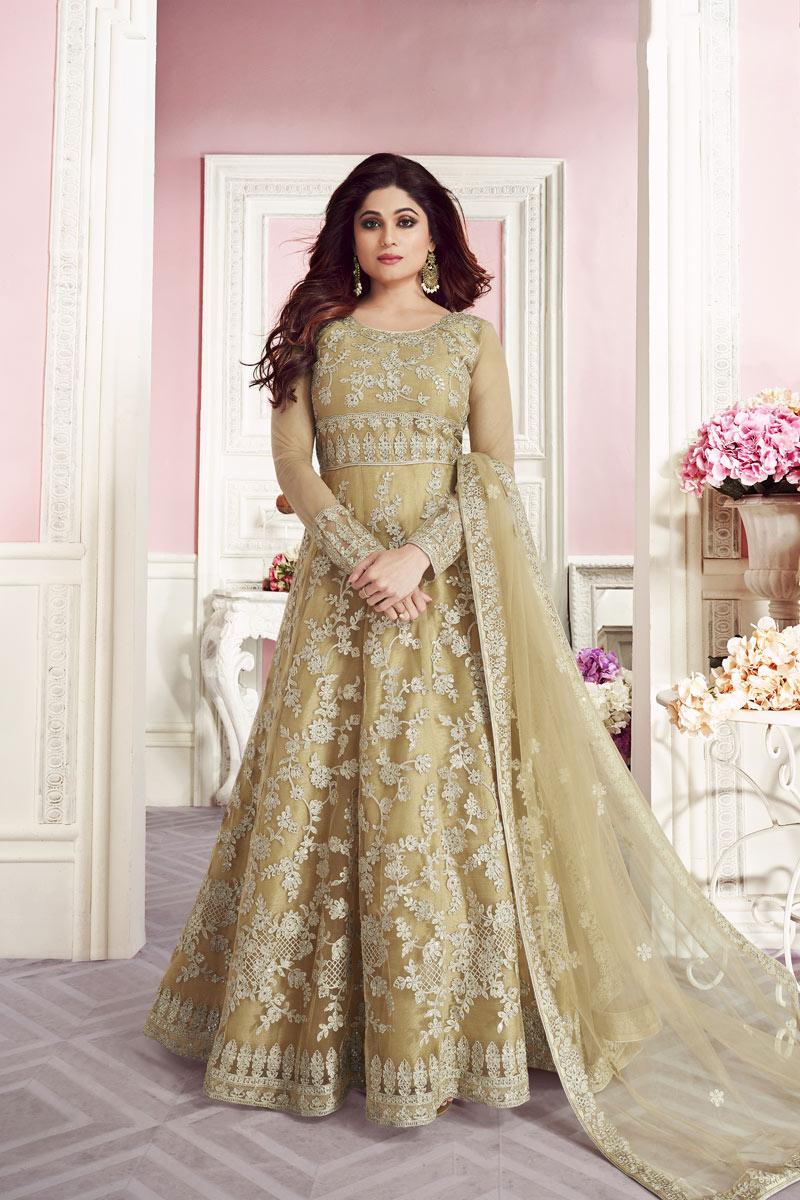Shamita Shetty Beige Embroidered Net Designer Function Wear Long Length Anarkali Dress