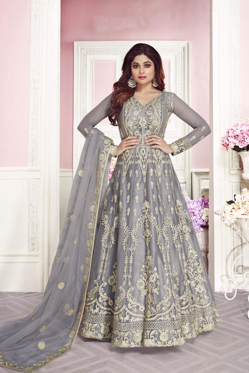 Shamita Shetty Designer Net Embroidered Grey Function Wear Floor Length Anarkali Suit