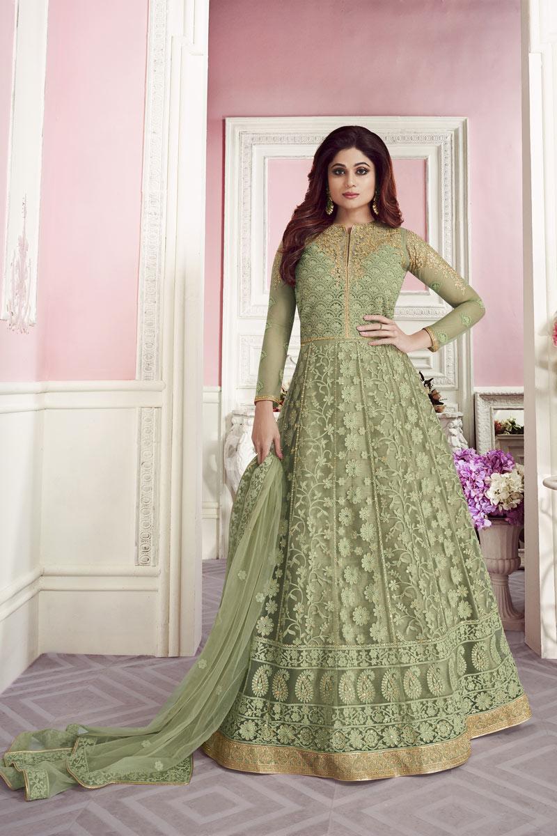 Shamita Shetty Green Function Wear Net Designer Embroidered Long Length Anarkali Dress