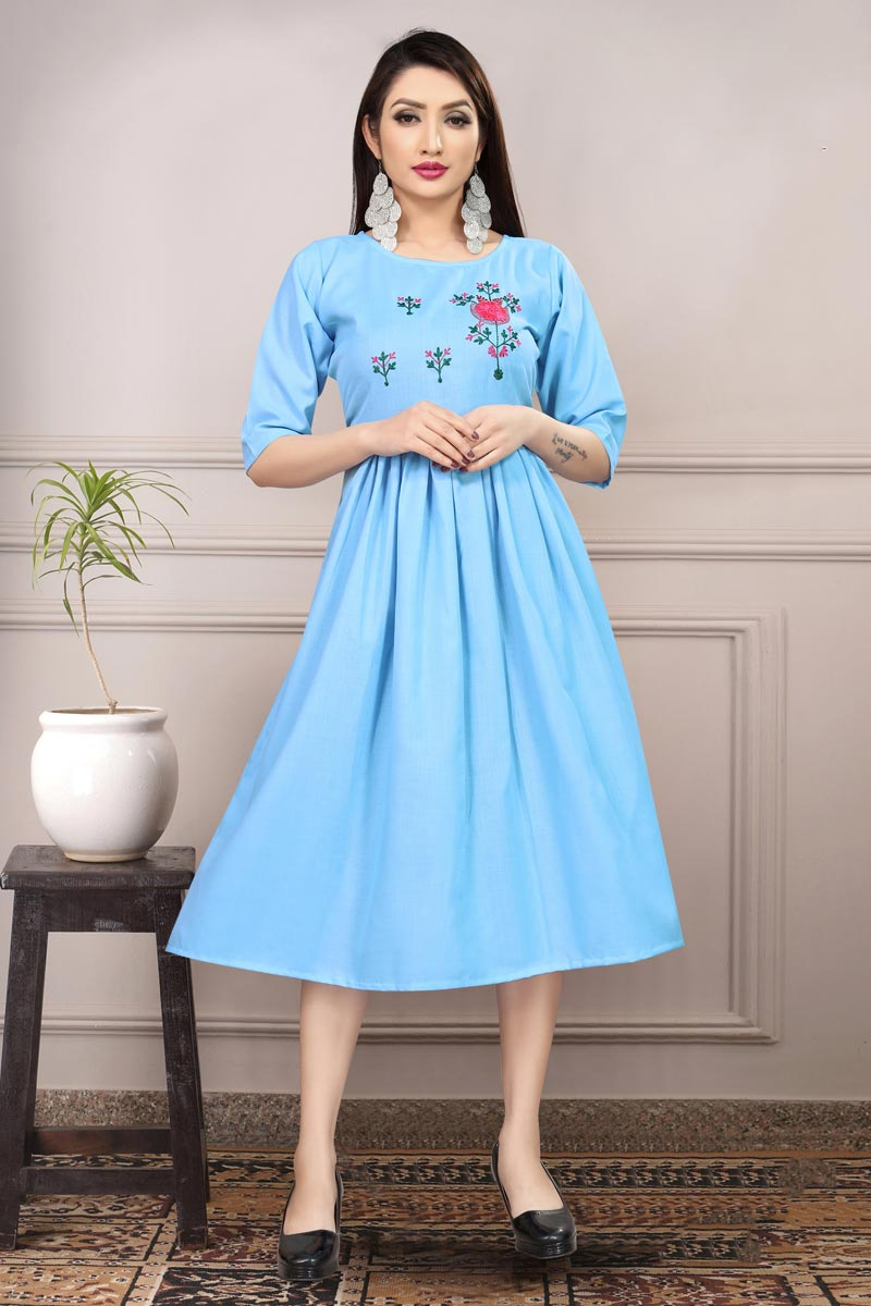 Cotton Fabric Casual Wear Fancy Sky Blue Color Thread Embroidered Kurti