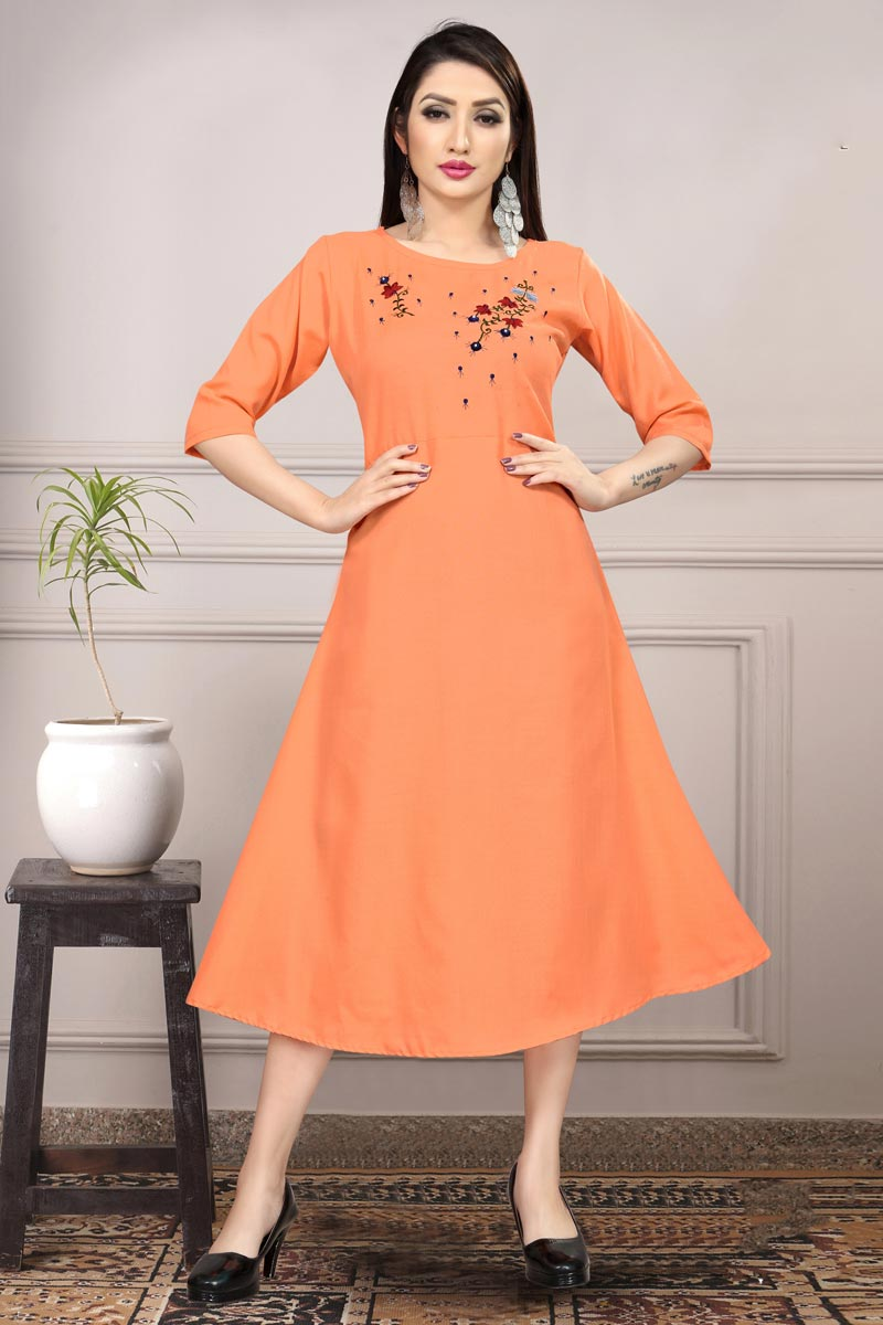 Orange Color Casual Wear Cotton Fabric Fancy Thread Embroidered Kurti