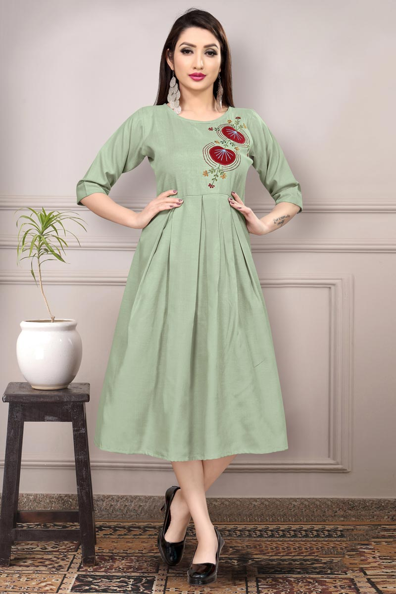 Fancy Casual Wear Sea Green Color Cotton Fabric Thread Embroidered Kurti