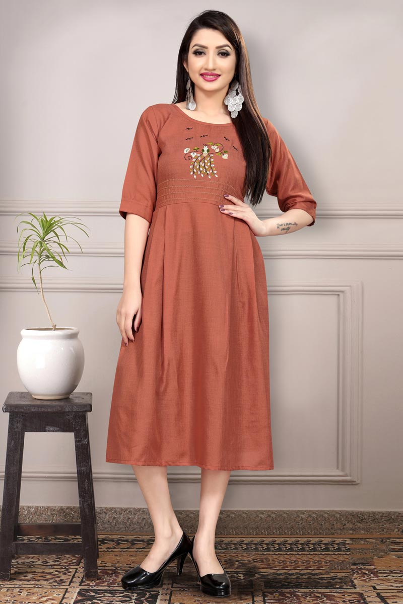 Casual Wear Fancy Rust Color Thread Embroidered Kurti In Cotton Fabric