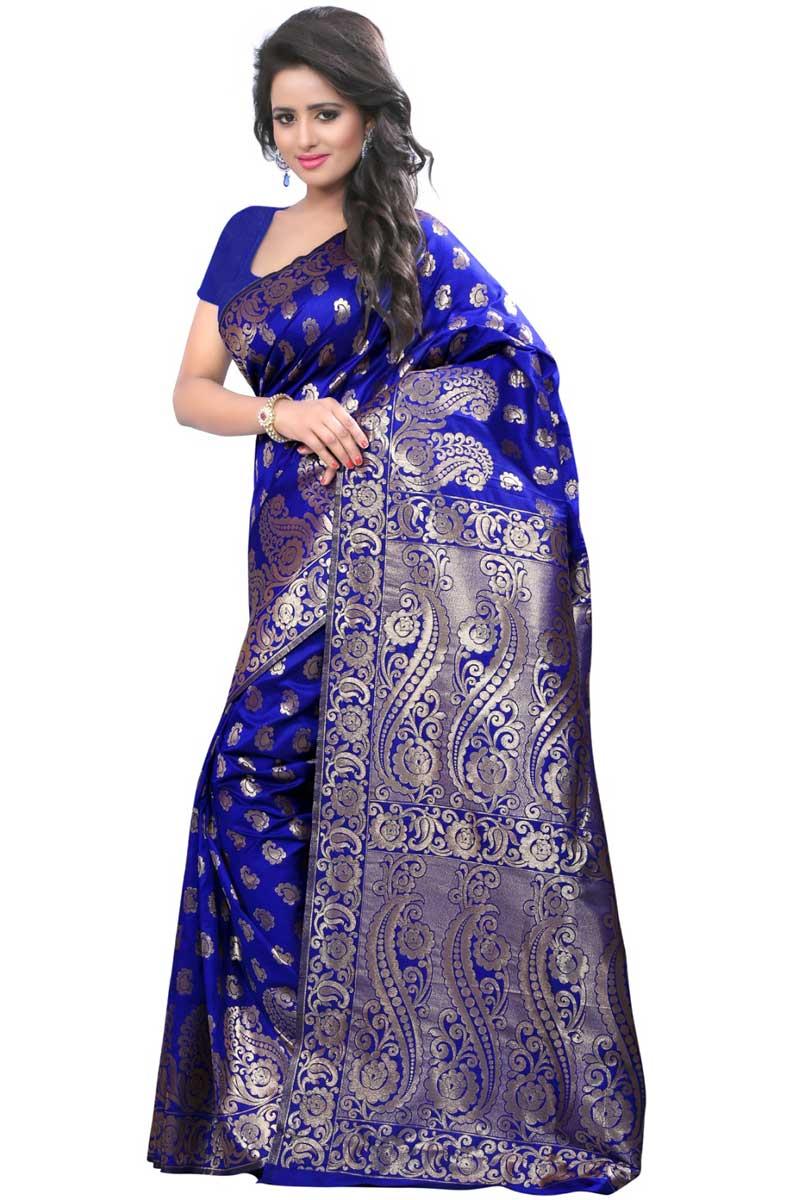 Blue Weaving Designs On Festive Wear Banarasi Silk Saree