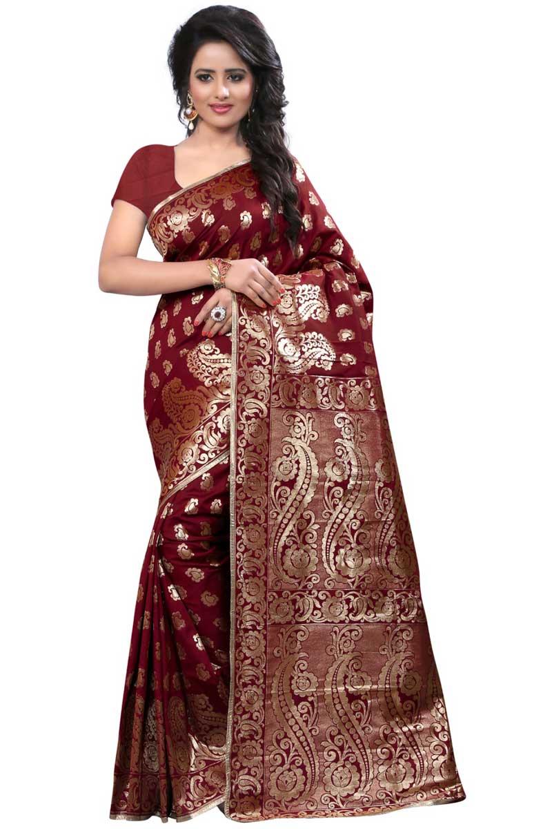 Weaving Work On Maroon Banarasi Silk Festive Wear Saree