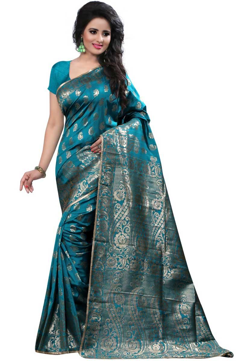Weaving Work On Sky Blue Party Wear Banarasi Silk Saree
