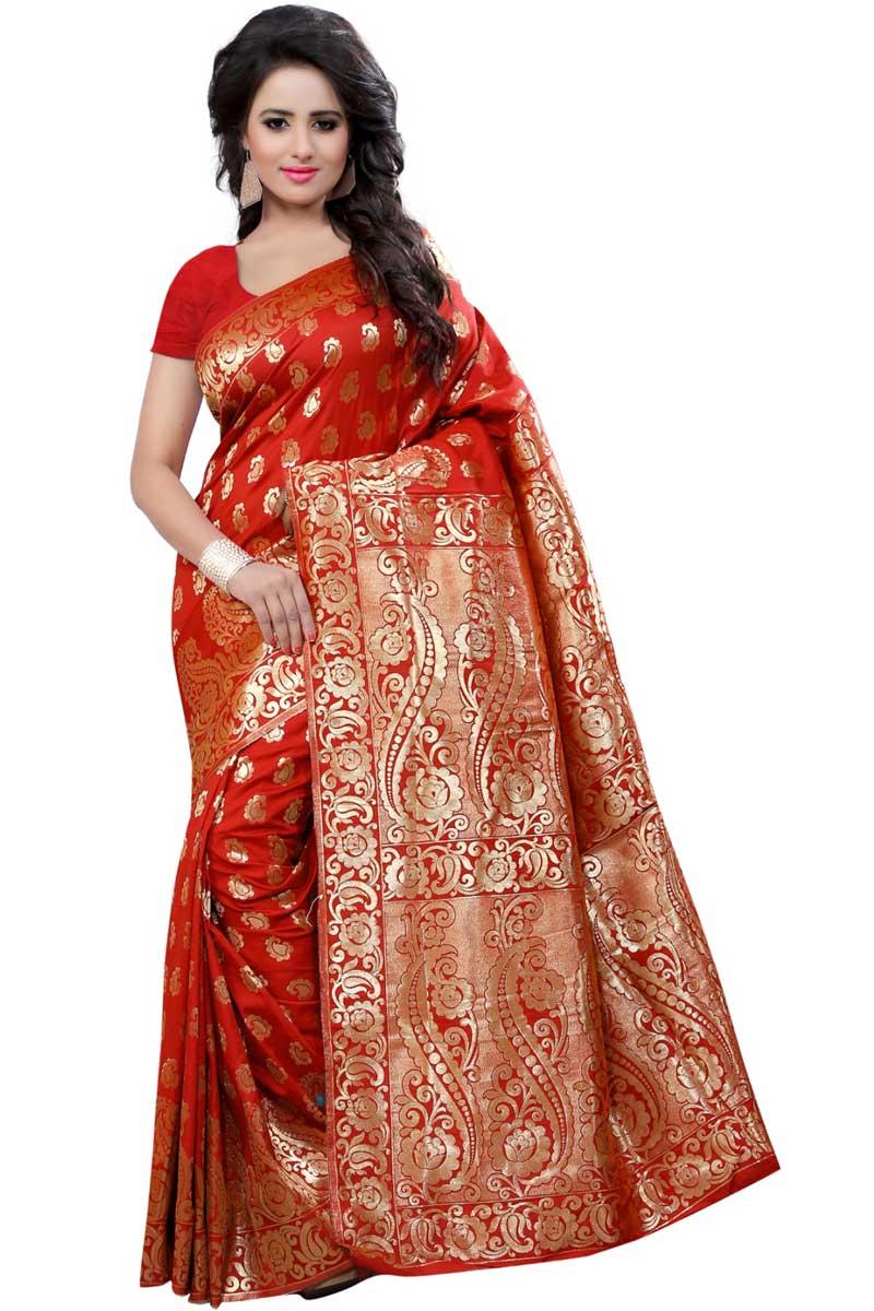 Banarasi Silk Fancy Saree In Red With Weaving Work