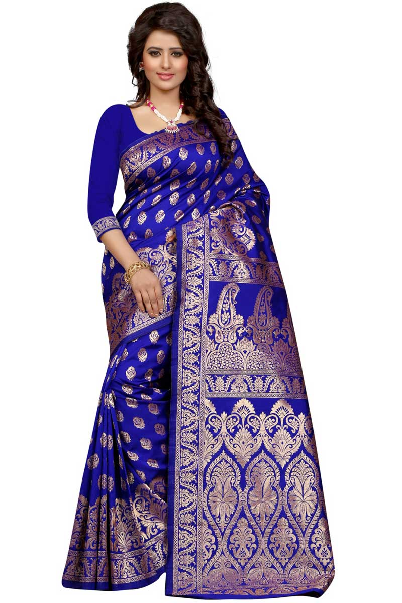 Blue Banarasi Silk Occasion Wear Saree With Weaving Work