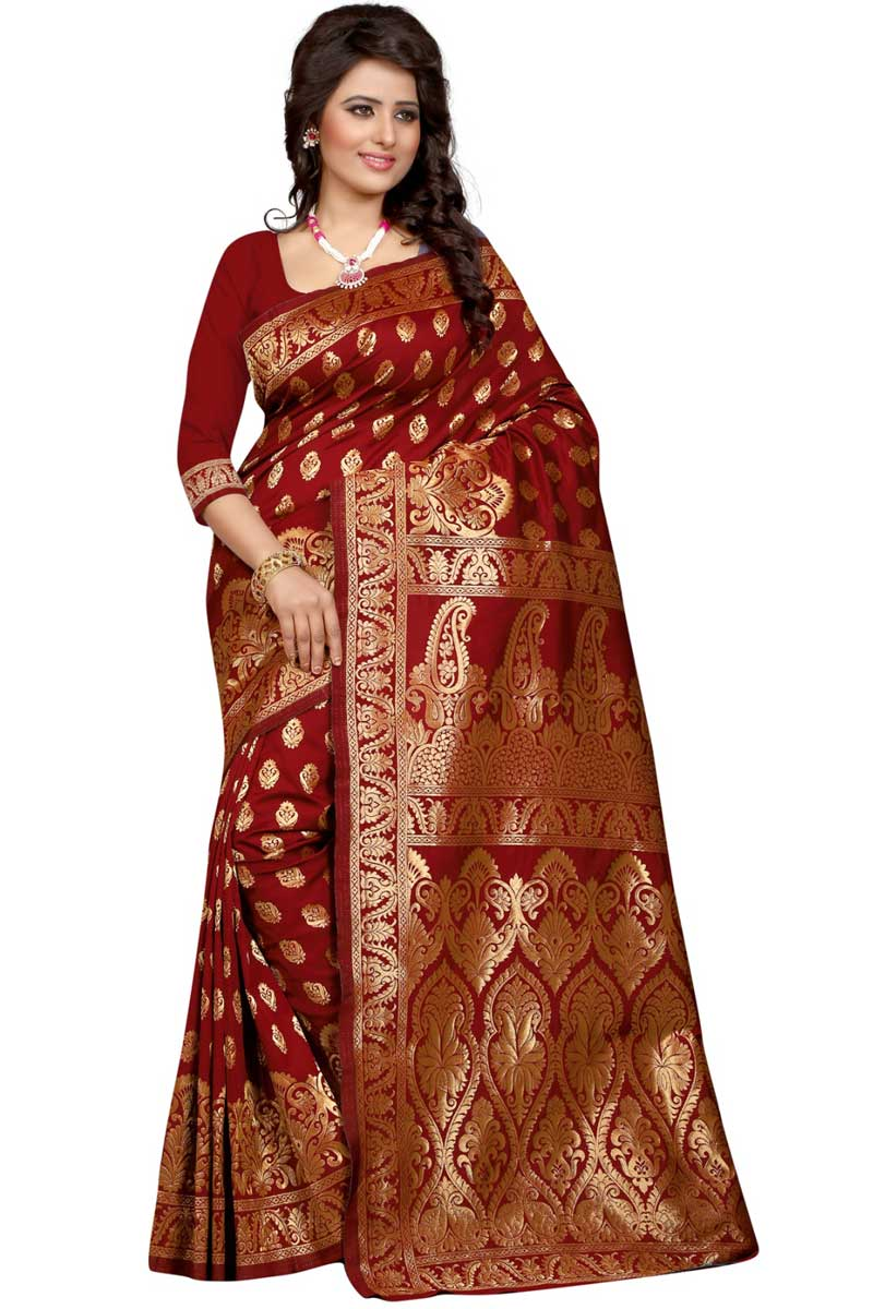 Maroon Weaving Work On Festive Wear Saree In Banarasi Silk