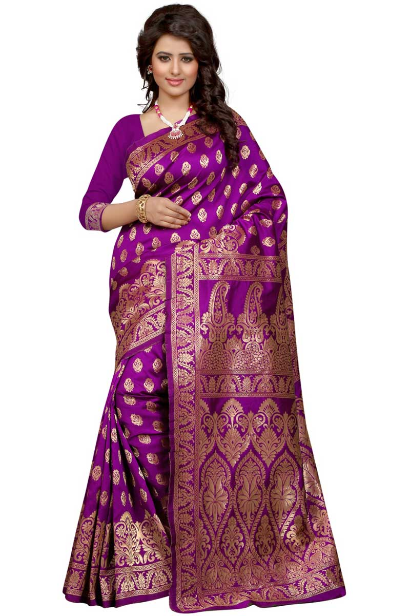 Banarasi Silk Purple Traditional Saree With Weaving Designs