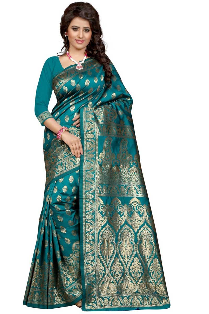 Teal Weaving Designs On Banarasi Silk Occasion Wear Saree