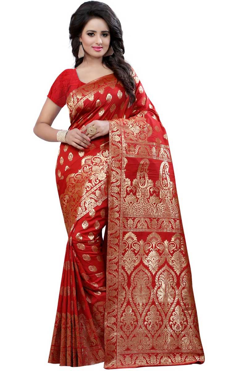 Weaving Work On Red Banarasi Silk Temple Wear Saree
