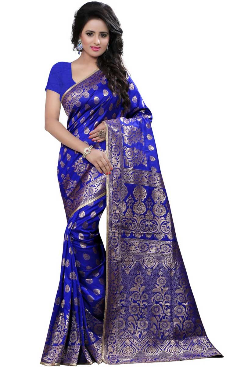 Weaving Work On Blue Traditional Banarasi Silk Saree