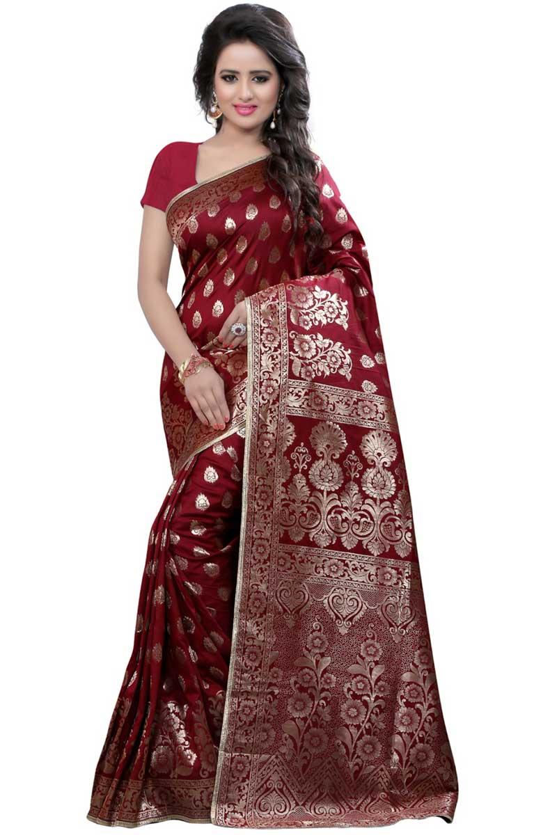 Puja Wear Saree With Weaving Work On Maroon Banarasi Silk Fabric