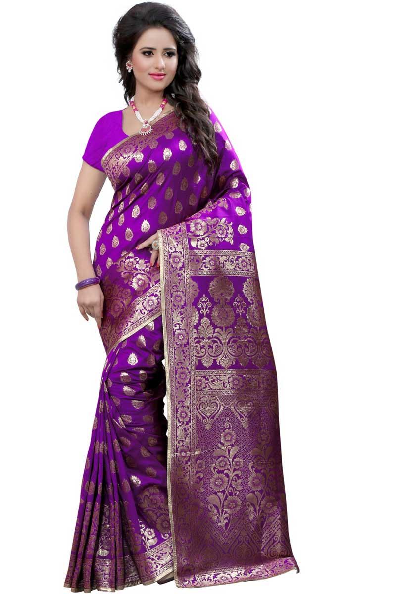 Classic Weaving Work On Purple Banarasi Silk Festive Wear Saree