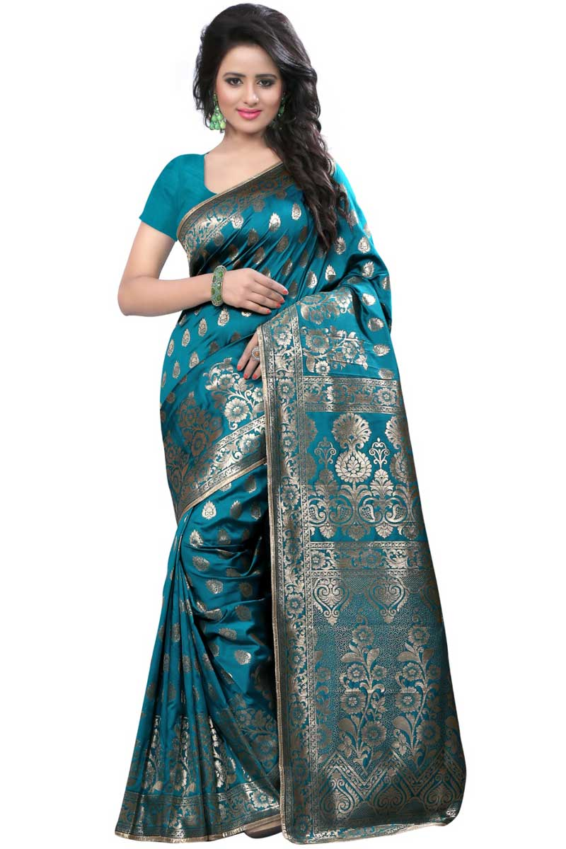 Creative Weaving Work On Designer Saree In Sky Blue Banarasi Silk