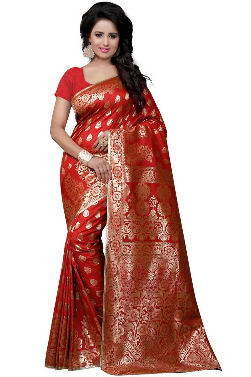 Marvelous Weaving On Party Wear Red Banarasi Silk Saree