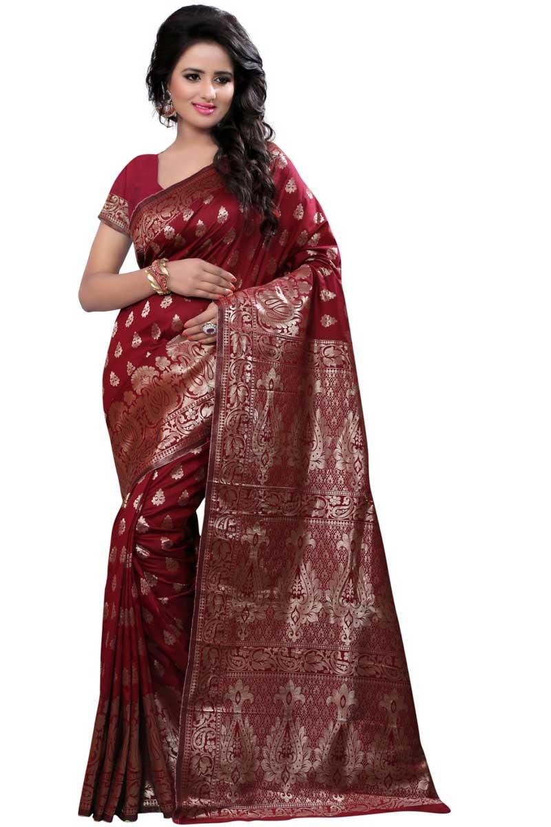 Entrancing Banarasi Silk Designer Saree In Maroon With Weaving Work