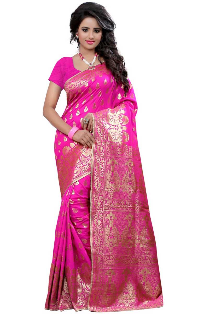 Charming Rani Banarasi Silk Occasion Wear Saree With Weaving Work