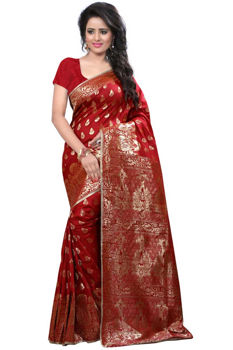 Excellent Banarasi Silk Red Designer Saree With Weaving Designs