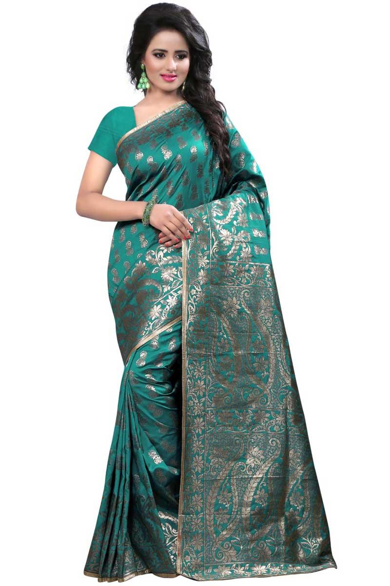 Engaging Teal Banarasi Silk Designer Saree With Weaving Work