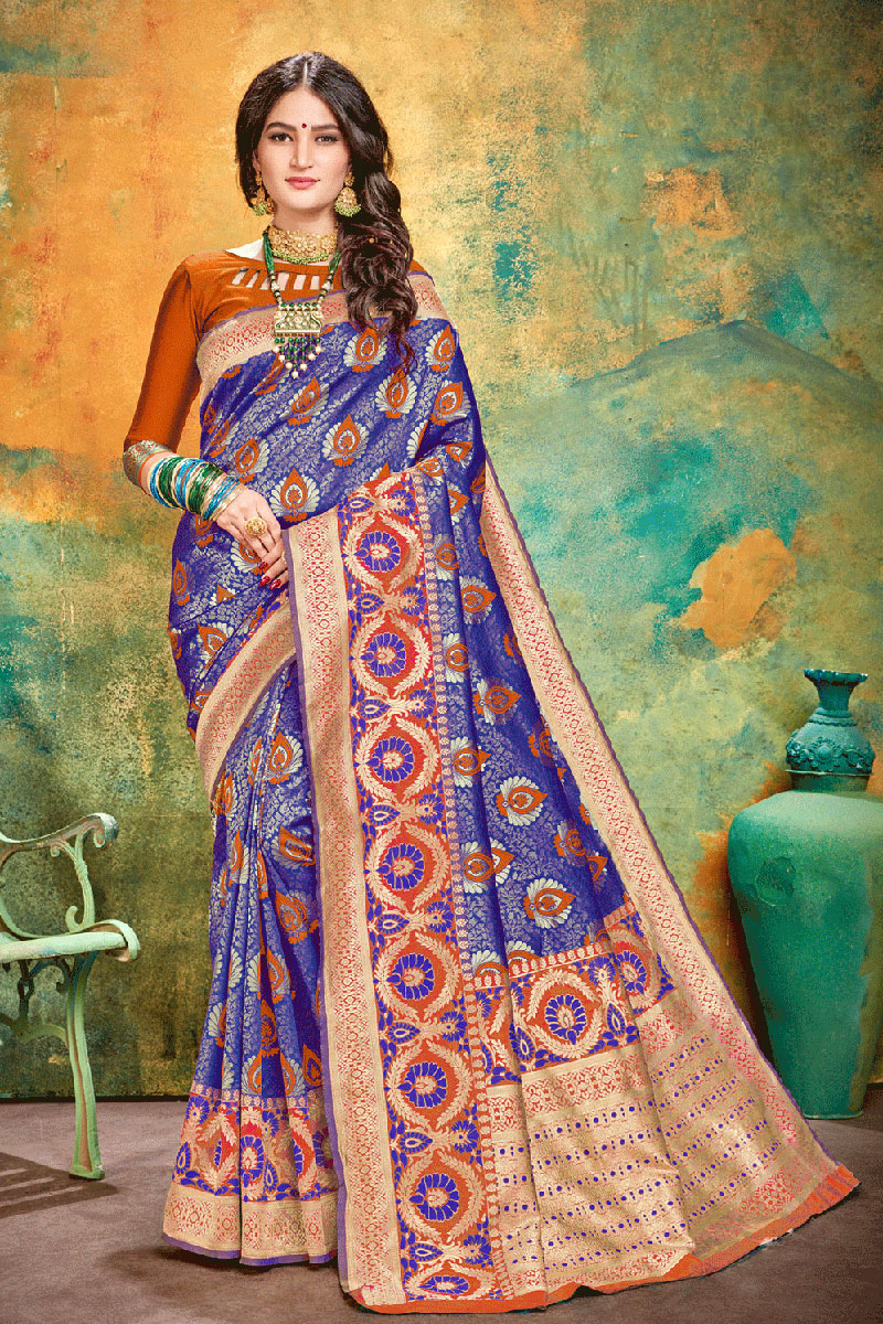 Blue Color Banarasi Silk Fabric Wedding Wear Saree With Weaving Work And Gorgeous Blouse