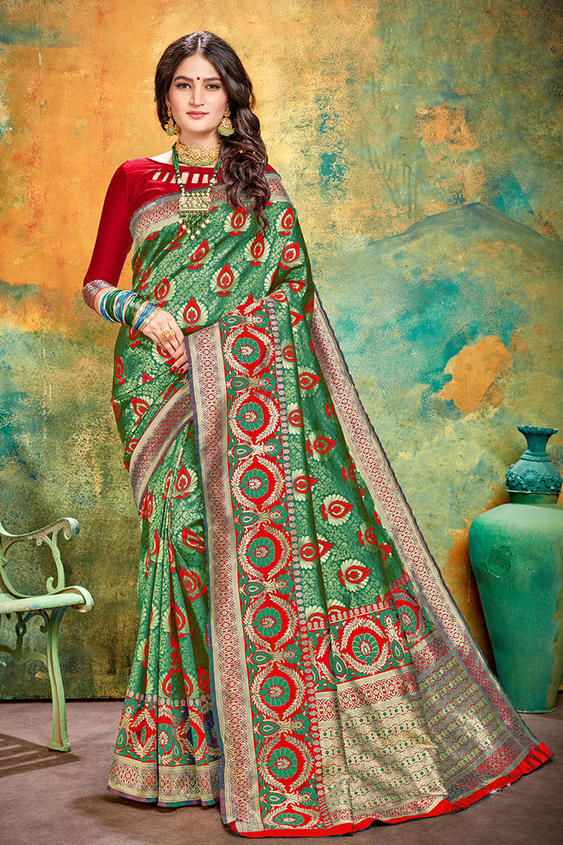 Weaving Work On Dark Green Color Designer Saree In Banarasi Silk Fabric With Admirable Blouse