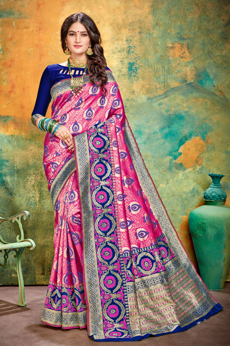 Banarasi Silk Fabric Designer Weaving Work Saree In Rani Color With Attractive Blouse