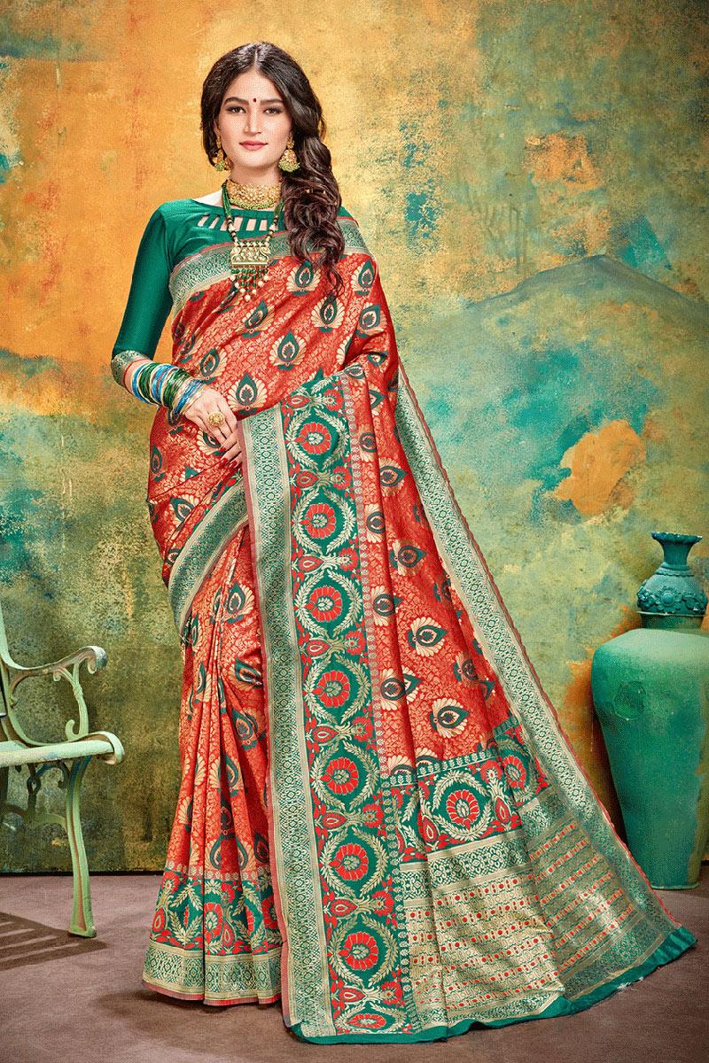 Red Party Wear Fancy Saree In Banarasi Silk With Weaving Work