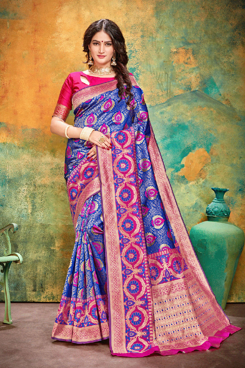 Banarasi Silk Fabric Blue Color Festive Wear Saree With Weaving Work And Attractive Blouse