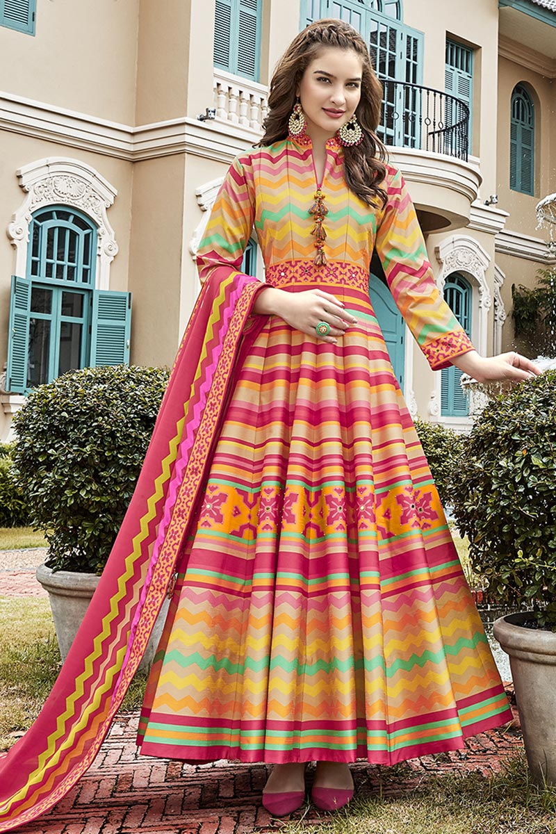 Multi Color Printed Readymade Anarkali Salwar Kameez
