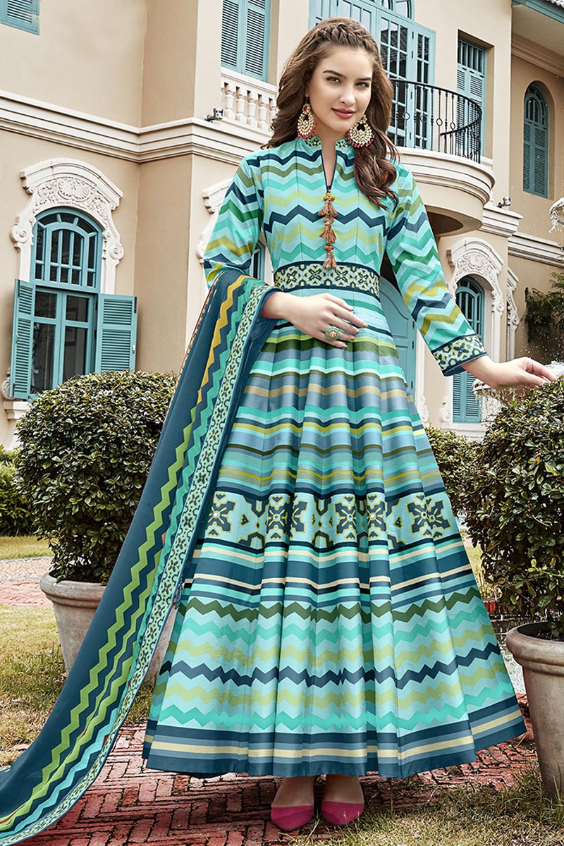Burgundy Color Sangeet Wear Printed Anarkali Suit With Leggings